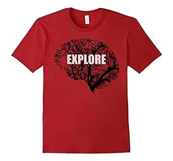 Mens Explore Your Mind Brain Science Psychology T-Shirt 2XL Cranberry
