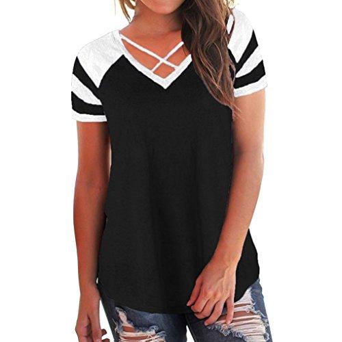 Women's Casual Short Sleeve Criss Cross Patchwork V-Neck T-Shirt Tops (XL, Black) ()