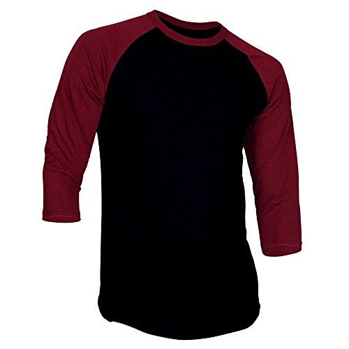 - Men's 3/4 Sleeve Baseball Jersey Tee Plain Athletic Raglan Shirts-Black Burgundy-Large