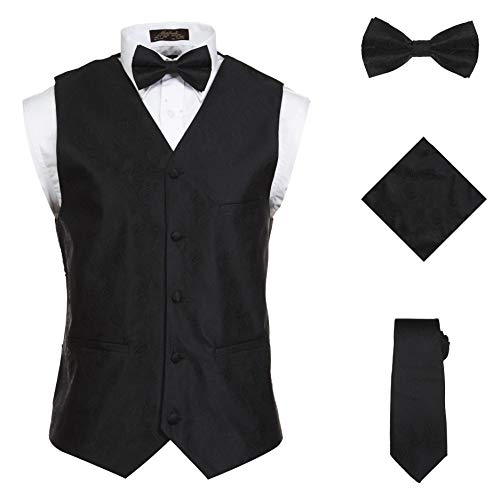 - Vittorino Men 's 4 Piece Formal Paisley Vest Set with Tuxedo Vest Tie Hankerchief Bow Tie,Black,X-Large