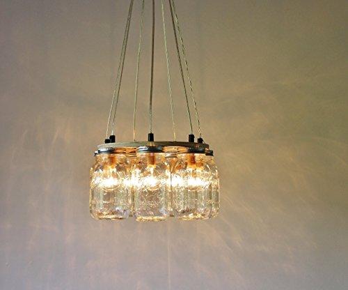 Ring Mason Jar Chandelier Lighting Fixture, 7 Clear Quart Jars, Bulbs Included (Mount Outdoor Pendant 7)