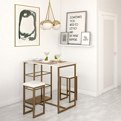 Dorel Living Tanner 3-Piece Brass Pub Set with Faux Marble Top, White (Kitchen Tables For Pub)