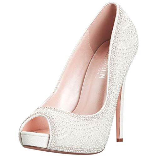 (David's Bridal Crystal Encrusted Peep-Toe Platform Heels Style ETERNITY106X, White, 10)