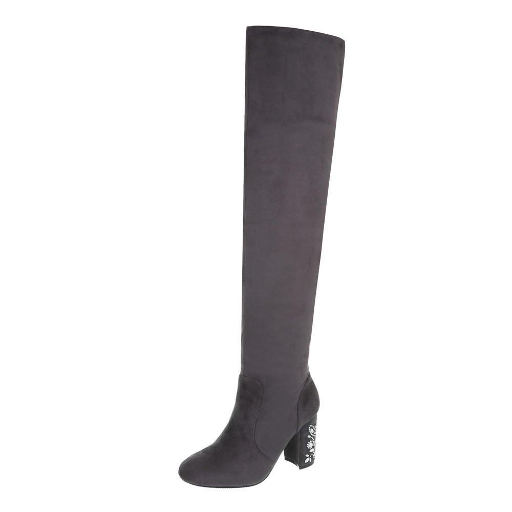 Ital-Design Overknees Damenschuhe Overknees Pump High Heels Reißverschluss Stiefel  36 EU Grau