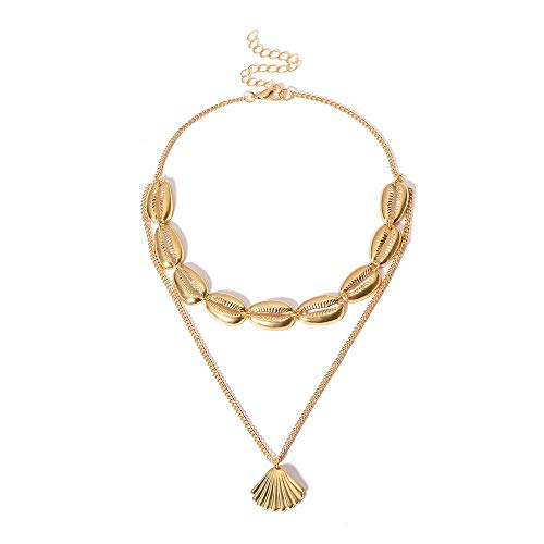 FEDONA Summer Choker Cowrie Natural Shell Pendant Necklace Handmade Wakiki Hawaii Conch Beach Choker Necklace for ()