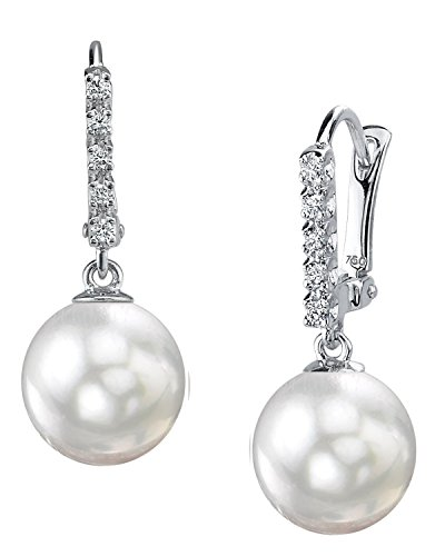 THE PEARL SOURCE 18K Gold 9-9.5mm AAA Quality Round White Akoya Cultured Pearl & Diamond Britney Earrings for Women