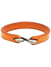 AZYOUNG Black Brown Orange Leather Bracelet Simple Narrow Band S Hook Clasp Cuff Bangle,21cm