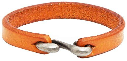 Bracelets Genuine Orange (AZYOUNG Black Brown Orange Leather Bracelet Simple Narrow Band S Hook Clasp Cuff Bangle,21cm (Orange))