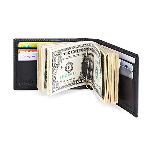 amelleon Men's RFID Blocking Leather Wallet - Front Pocket Bifold Wallet With USD Money Clip (Black) - Folding Money Clip