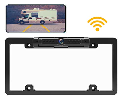 Calmoor License Plate Wireless Backup Camera with Night Vision IP69K Waterproof 170 Degrees Wide Viewing Angle Wifi Reverse Rear View Camera for Cars RVs Pickups Simple Installation (Iphone Backup)