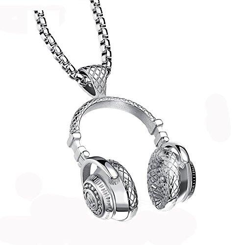 Ostory 個性的な ヘッドフォン メンズネックレス ペンダント サージカルステンレス ネックレス メンズ アクセサリー