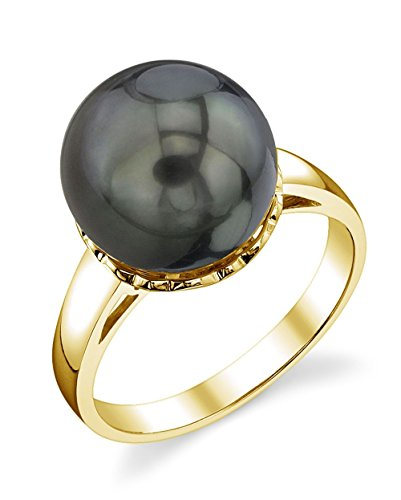 (THE PEARL SOURCE 14K Gold 11-12mm Round Genuine Black Tahitian South Sea Cultured Pearl Laurel Ring for)