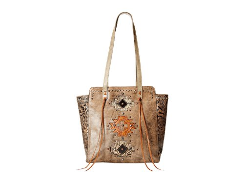 American West Navajo Soul Zip Top Tote, Distressed Charcoal Brown