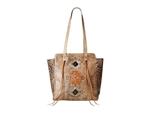 American West Navajo Soul Zip Top Tote, Distressed Charcoal Brown (West Handbag American)