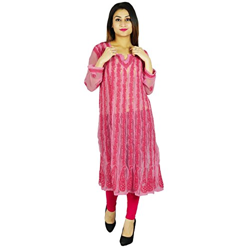 Diseñador de India étnicas Kurti regalo informal para ella Chikan bordado Kurta Rosado