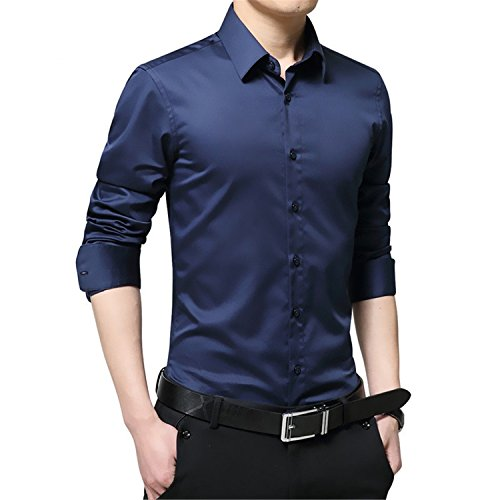 Price comparison product image NeeKer Jacket Men Shirt Turn Down Collar Long Sleeved Solid Casual Business Shirt Man DS060 Dark Blue Asian L