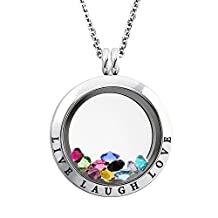 20-25 MM Stainless Steel Live Laugh Love Engraved Floating Glass Charm Locket Pendant Necklace