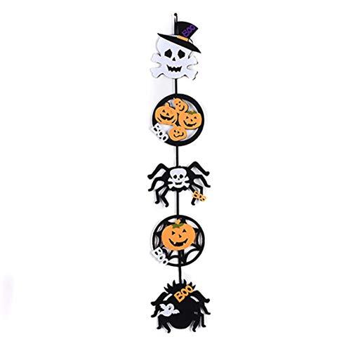 DOSOMI Halloween Decoration Hanging Flags Door Hanger of Ghost Pumpkin Spider Skeleton Pendant Creative Props Ghost ()
