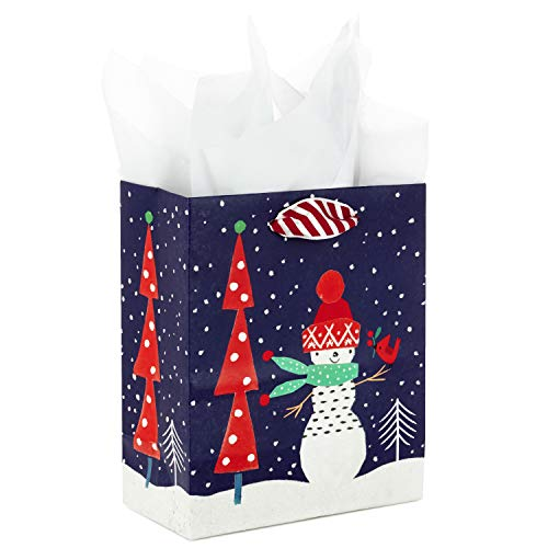 Hallmark Small Christmas Gift Bag with Tissue Paper (Navy Snowman)