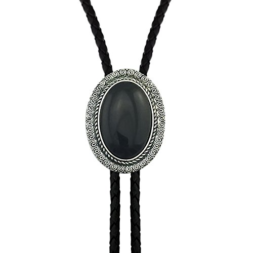 (Lanxy Vintage Elegant American Oval Art Deco Black Stone Bolo Tie For)
