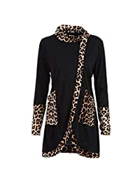 SJLee Clothes Shirt Tops Blouse Women Leopard Print T-Shirt Cowl Neck Long Sleeve Patchwork