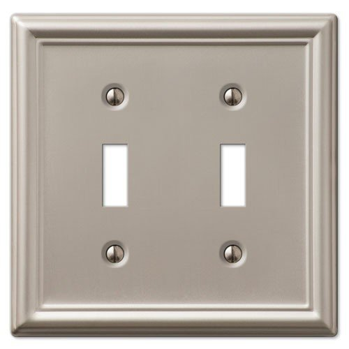(Decorative Wall Switch Outlet Cover Plates (Brushed Nickel, Double Toggle))