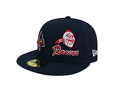 New Era 59Fifty Hat MLB Atlanta Braves 1966 Heritage Patch'd Up Navy Blue Cap