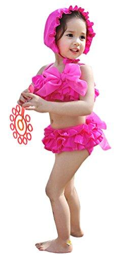 Kids Girls 3 Pieces Ruffle Bikini Set with 2 Lovely Bowknots Fuchsia XL (International Dress Up Ideas)