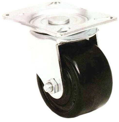 E.R. Wagner Plate Caster, Swivel with Thumb Screw Brake, Phenolic Wheel, Roller Bearing, 500 lbs Capacity, 3