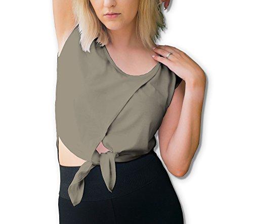 Women's 3 In 1 Top Back Tulip Crop Tie Front Criss Cross Strap Neck/LARGE-GREEN (Tulip Cross)