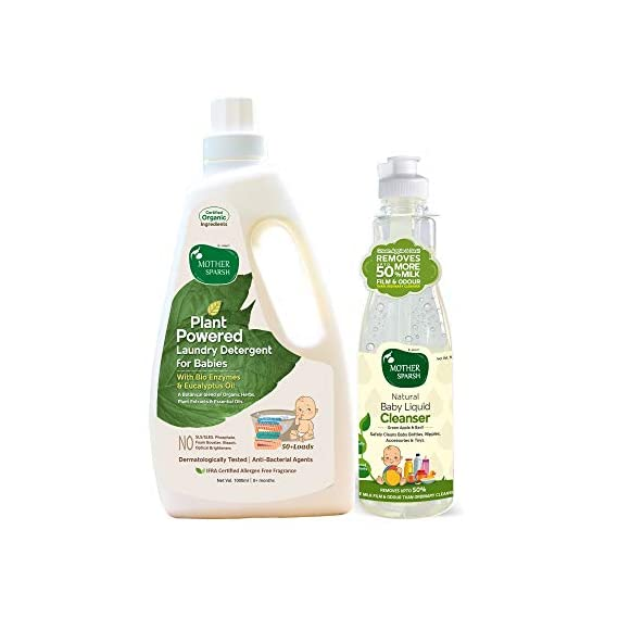 Mother Sparsh Plant Powered Baby Laundry Liquid Detergent, 1L & Natural Baby Liquid Cleanser with Green Apple & Basil, 500 ml