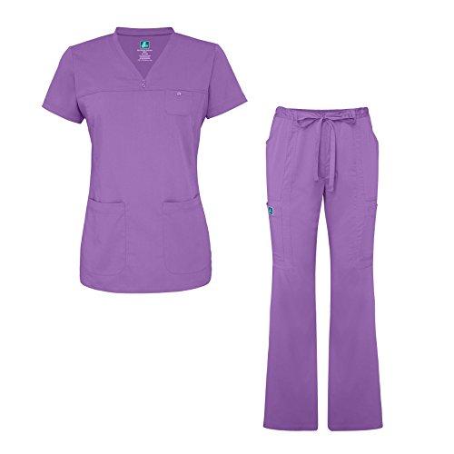 7b2639e51a7 Adar Indulgence Jr. Fit Womens Scrub Set Curved V-Neck Medical Scrub Top  Scrub