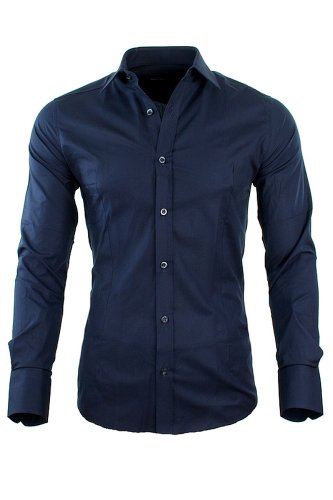 Redbridge by CIPO & BAXX Slim Fit Hemd Polo Shirt Kentkragen Polo Verschiedene Farben (M, Navy)