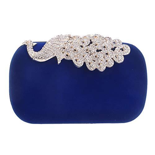 Velours Mariage Fête Bal Sac Main Pochette Blue Soirée De Paon Clutch à Diamant Sac Suède Femmes Fw85q