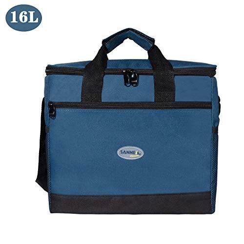 Tcbasrt Premium oxford cloth Lunch Bag for Women, Men, Kids | Lunch Box with Shoulder Strap, Pocket, Soft Leakproof Liner | Medium Lunch Cooler for School, Work (Navy Blue)