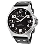 TW Steel Pilot TW408 Black Leather Watch - 45 mm