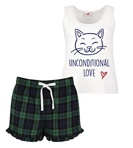 Rojo Segundo Ruffled Corto Azul Pijama Verde 60 Limitado Scottish imagen cambio Conjunto Gato Incondicional Mujeres Amor de UHFxp6