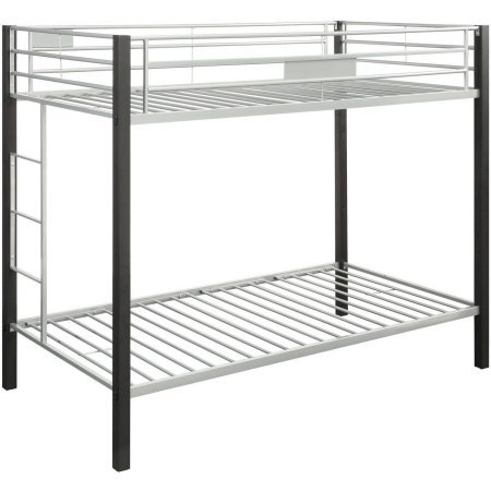 Mirella Twin/Twin Bunk Bed, Brown Coffee, Slat system included Side Ladder Full Length Guardrail