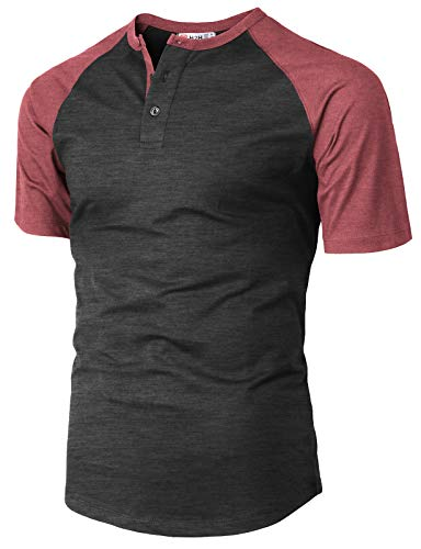 H2H Men's Casual Slim Fit Short Sleeve Henley Shirt Raglan Baseball T-Shirts Tee Maroon US S/Asia M ()