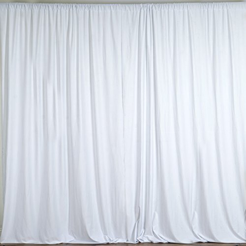 BalsaCircle 10 feet x 10 feet White Polyester Backdrop Drapes Curtains Panels - Wedding Ceremony Party Home Window Decorations (Trade Show Background)
