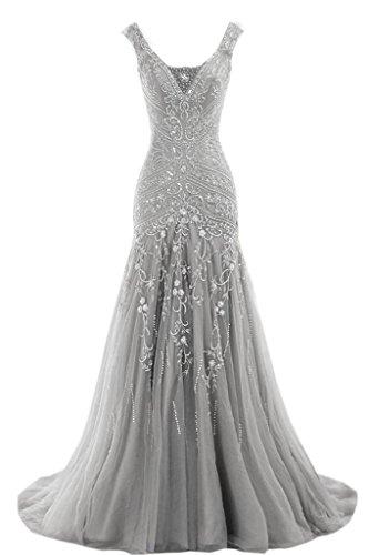 Beaded Slim Evening Gown - 4