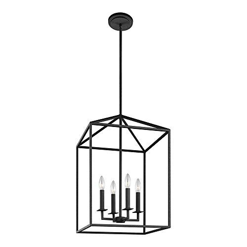 Light Foyer Pendant - Sea Gull Lighting 5215004-839 Perryton Four-Light Hall or Foyer Light Fixture, Blacksmith Finish