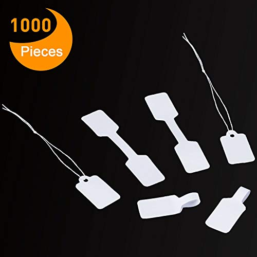 (Canomo 500 Pieces Blank Jewelry Price Tags Stickers and 500 Pieces String Jewelry Price Label for Jewelry Display, Rectangle Shape, White)