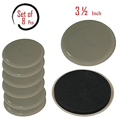 Beige Reusable Furniture Sliders/Movers - Unmatched Surface Protection - Great Fit-Fuzz Free- Refreshingly Quiet -Heavy Duty( 8 Pack) -3 ½'' Round Super Sliders