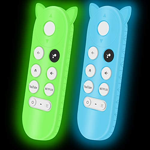 2Pack Silicone Protective Case Compatible for Google Chromecast Remote Control,Remote Case Holder Skin for Google 2020 Voice Remote,Shock Absorption Bumper Remote Back Cover -Glowgreen+Glowblue
