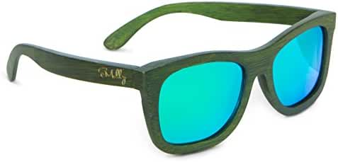 100% Bamboo Wood Floating Wayfarer Sunglasses Polarized to Reduce Glare - 100% UV Rays Protection to Keep Your Eyes Safe While Driving, Boating, or Going to the Beach - Bamboo Arms + Frame by Emolly