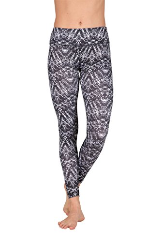 90 Degree By Reflex - Performance Activewear - Printed Yoga Leggings - Peacock Black - Small