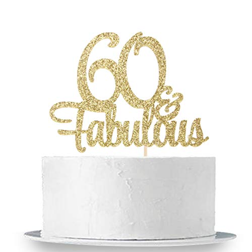 INNORU Gold Glitter 60 & Fabulous Cake Topper - 60th Birthday Party Decoration Sign - Adult Birthday Party Supplies -