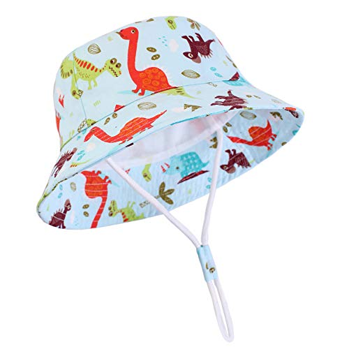 Zando Baby Sun Hats Baby Girl Boy Adjustable UPF 50+ Sun Protection Bucket Hat Toddler Summer Beach Kid Sun Caps Dinosaur 12-24 Months/19.7