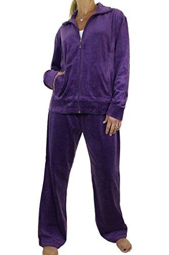 - ICE (6475-5) Plus Size Curvy Full Figure Womens Luxury Velour Tracksuit Purple (5XL)
